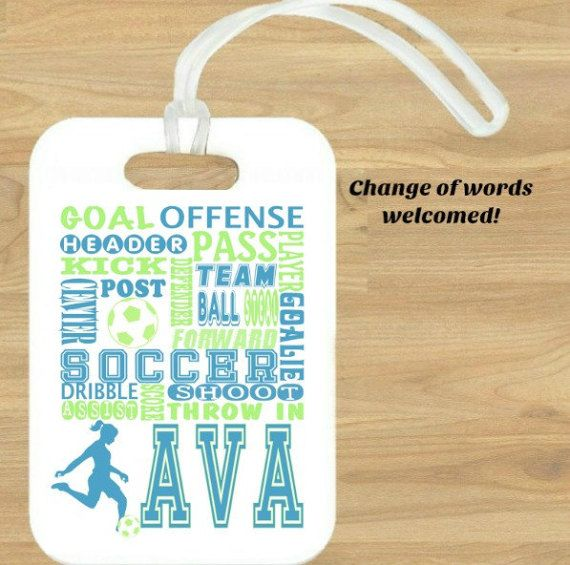 Soccer Gifts Bag Tag Personalized Luggage Sports Tags Metal Double Sided