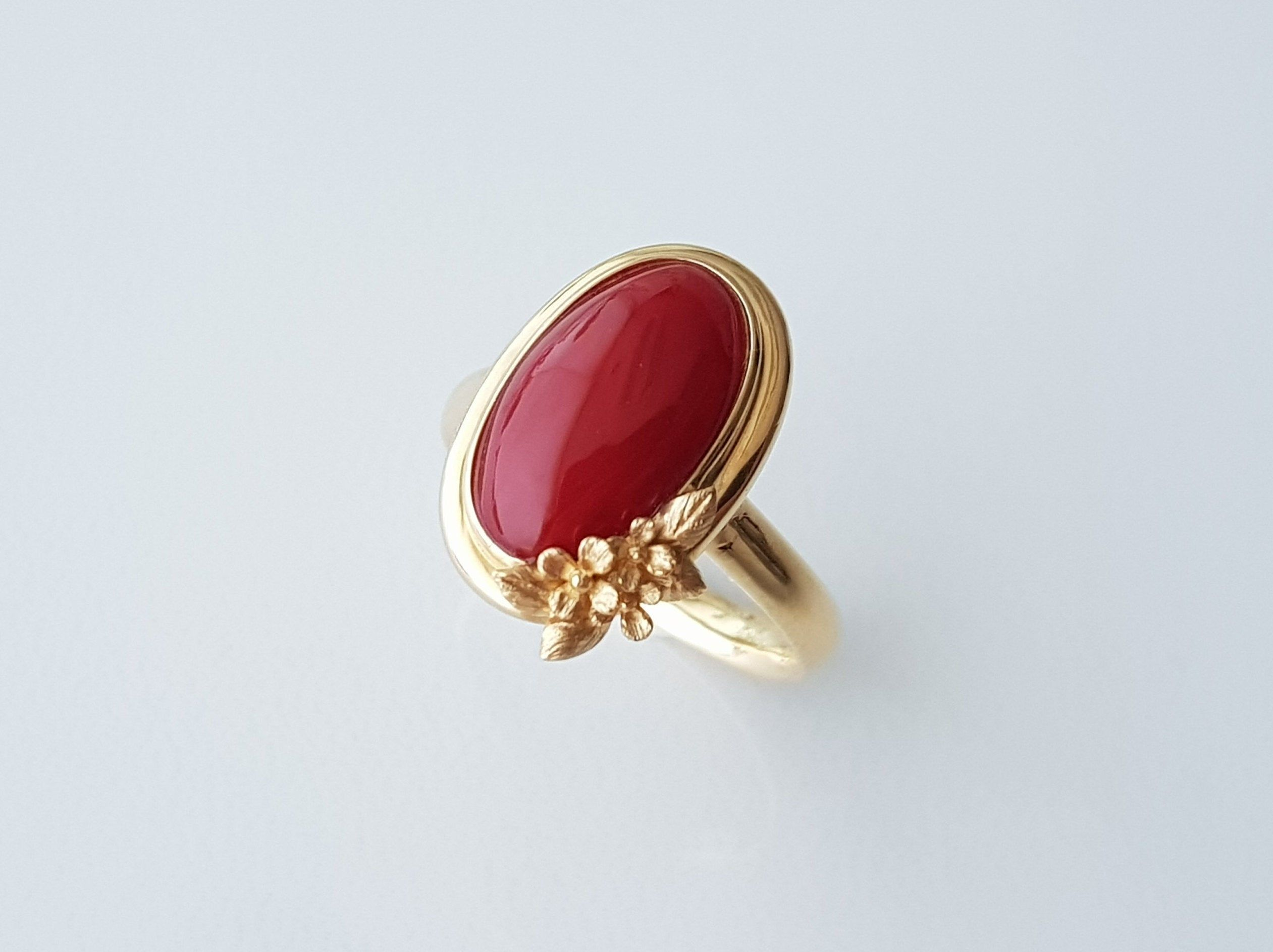 silver and gold ring with Coral