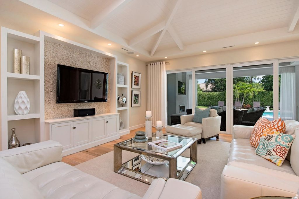 Built in wall unit designs built in tv shelf living room - Transitional style living room ...