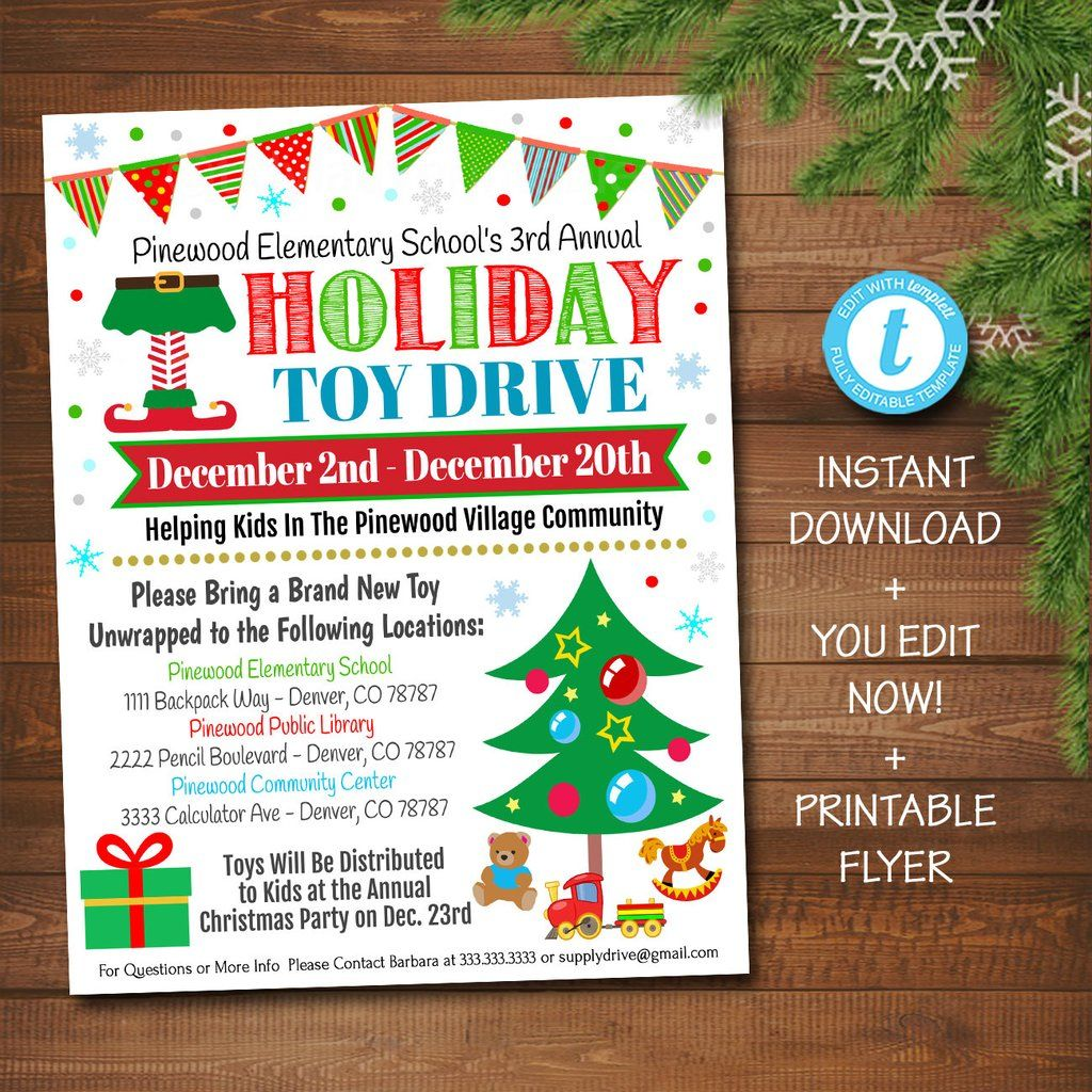Holiday Toy Drive Flyer Printable Pta Pto Flyer School Church Xmas Fundraiser Poster Christmas Invite Pto Pta Charity Invitation Christmas Toy Drive Toy Drive Holiday Toys