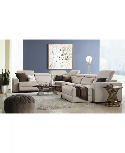 Furniture Nevio 3 Pc Fabric Sectional Sofa With Chaise 1 Power Recliner And Articulating Headrests Created For Macy S Reviews Furniture Macy S Sectional Sofa With Chaise Reclining Sectional Sectional Sofa With Recliner