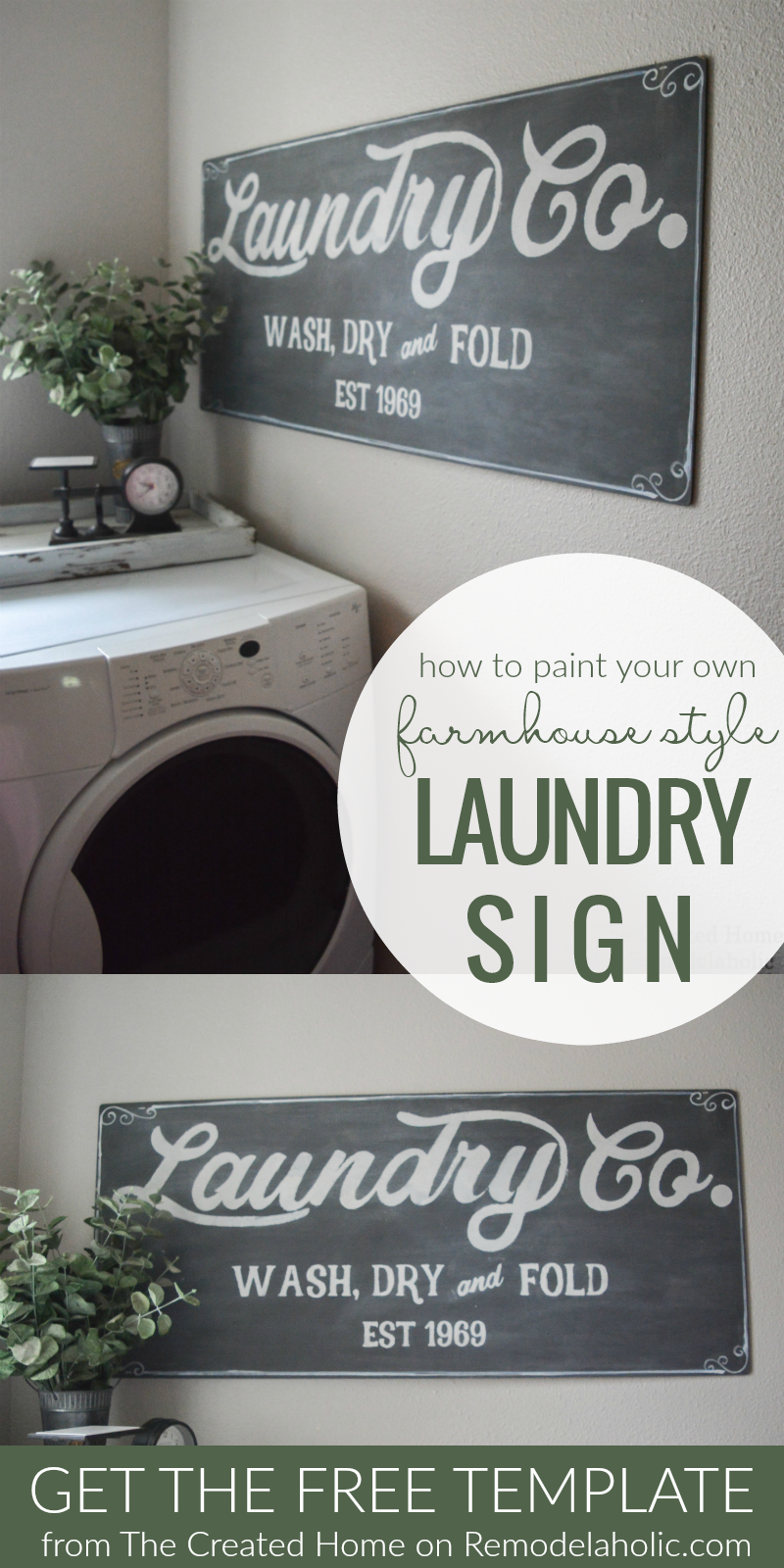 Remodelaholic | Fixer Upper Inspired Farmhouse Laundry Sign + Free Template