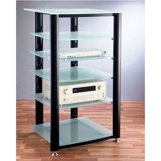 tempered glass bookcase entertainment center | VTI HGR Series 6 Glass Shelf AV Stands