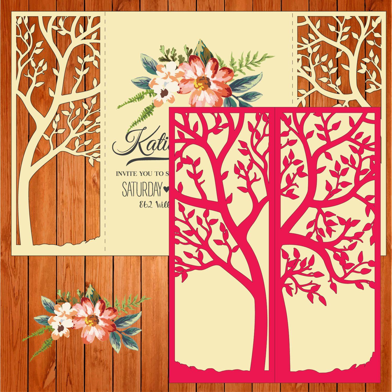 Invitación de la boda tarjeta plantilla, figuras, árbol, hojas ...