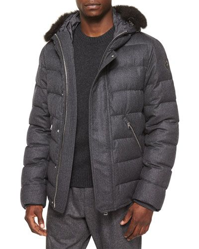 3224aca111aa N3D4M Moncler Bernier Fur-Trim Wool Puffer Coat