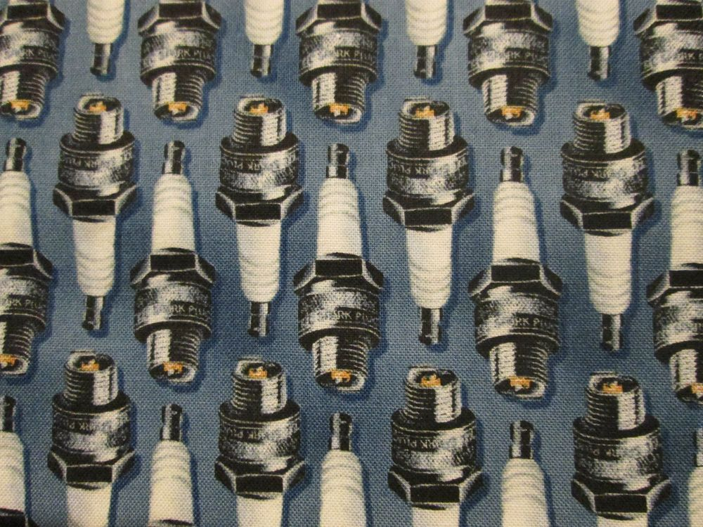 MOTORCYCLE CAR SPARK PLUGS BLUE COTTON FABRIC FQ  #Outofprint