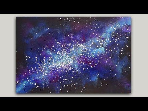 Schwamm Der Eine Galaxie Mit Acrylfarbe Malt Acrylic Painting