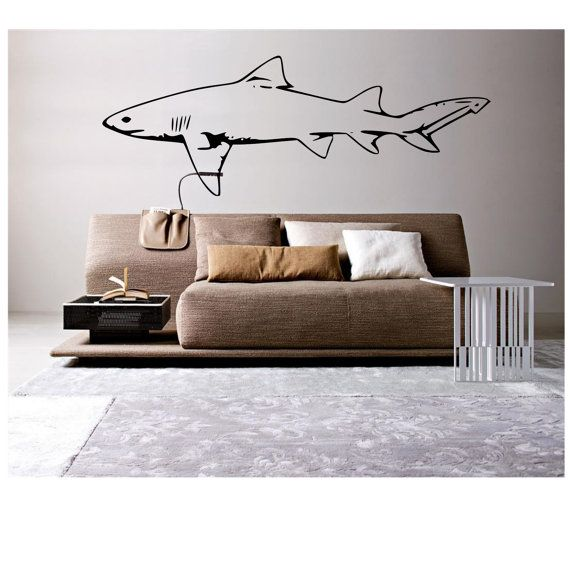 Comfortable Living Room Dimensions: Great White Shark Wall Decal In 2019