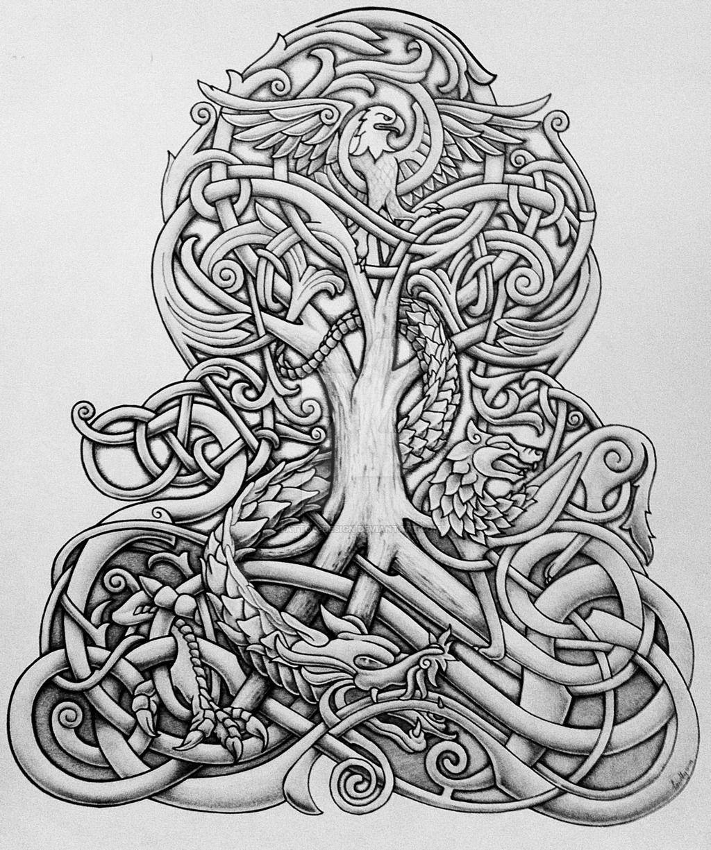 Yggdrasil And Dragon By Tattoo Design Deviantart Com On Deviantart