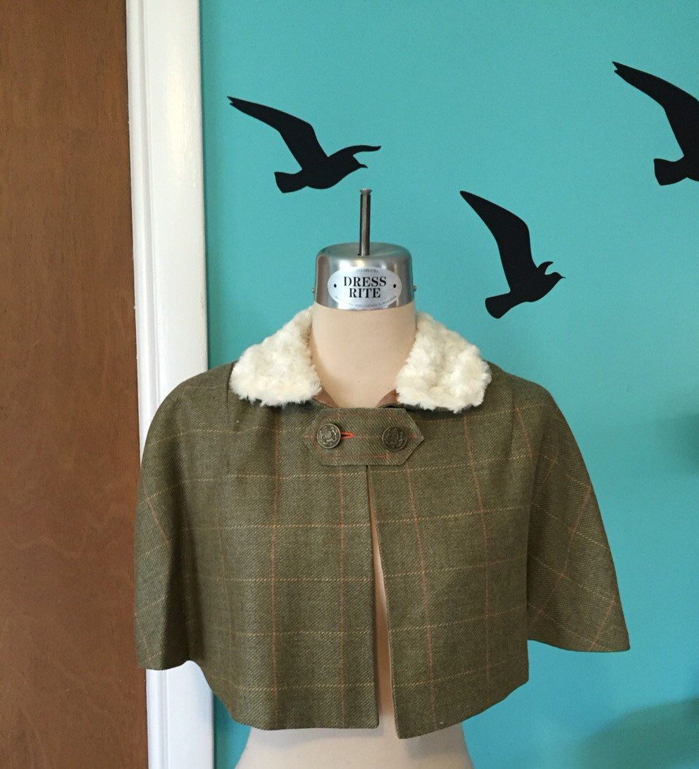 A Winter's Tale - Early 60's Repro Wool Plaid Capelet by Kinfauns on Etsy