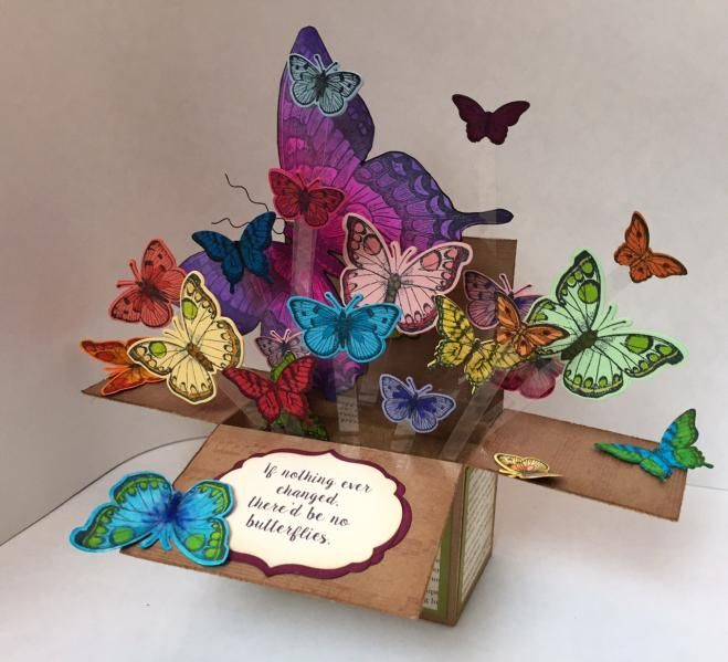Butterfly Pop Up Box By Karjor Cards And Paper Crafts At Splitcoaststampers Box Cards Tutorial Pop Up Box Cards Exploding Box Card
