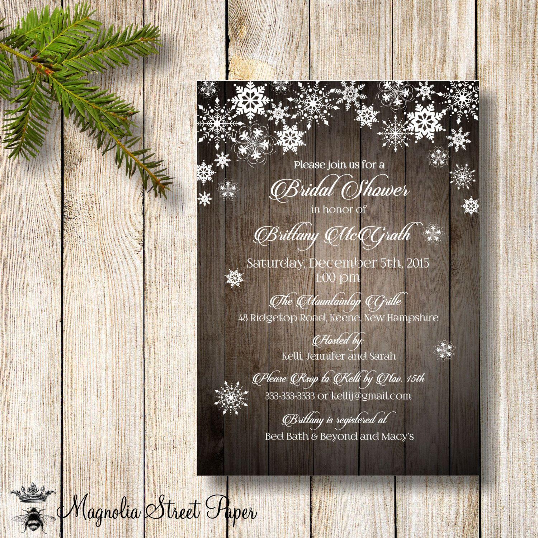 Snowflake Bridal Shower Invitation, Rustic Winter Bridal Shower ...