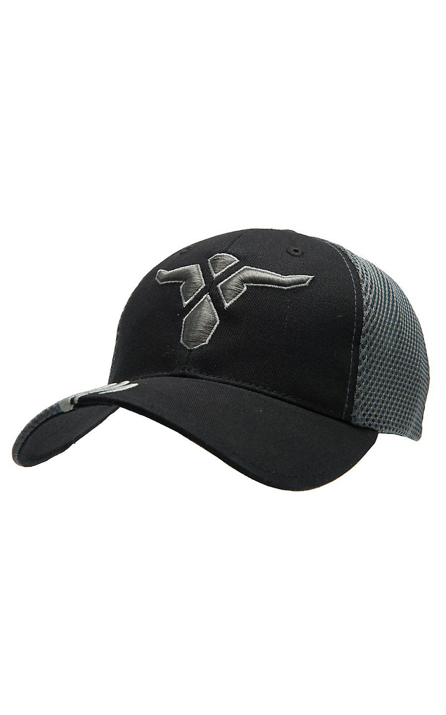 Wrangler 20X® Black   Grey with 20X Steer Logo Embroidery Flex Fit Cap 3c2618c69a5