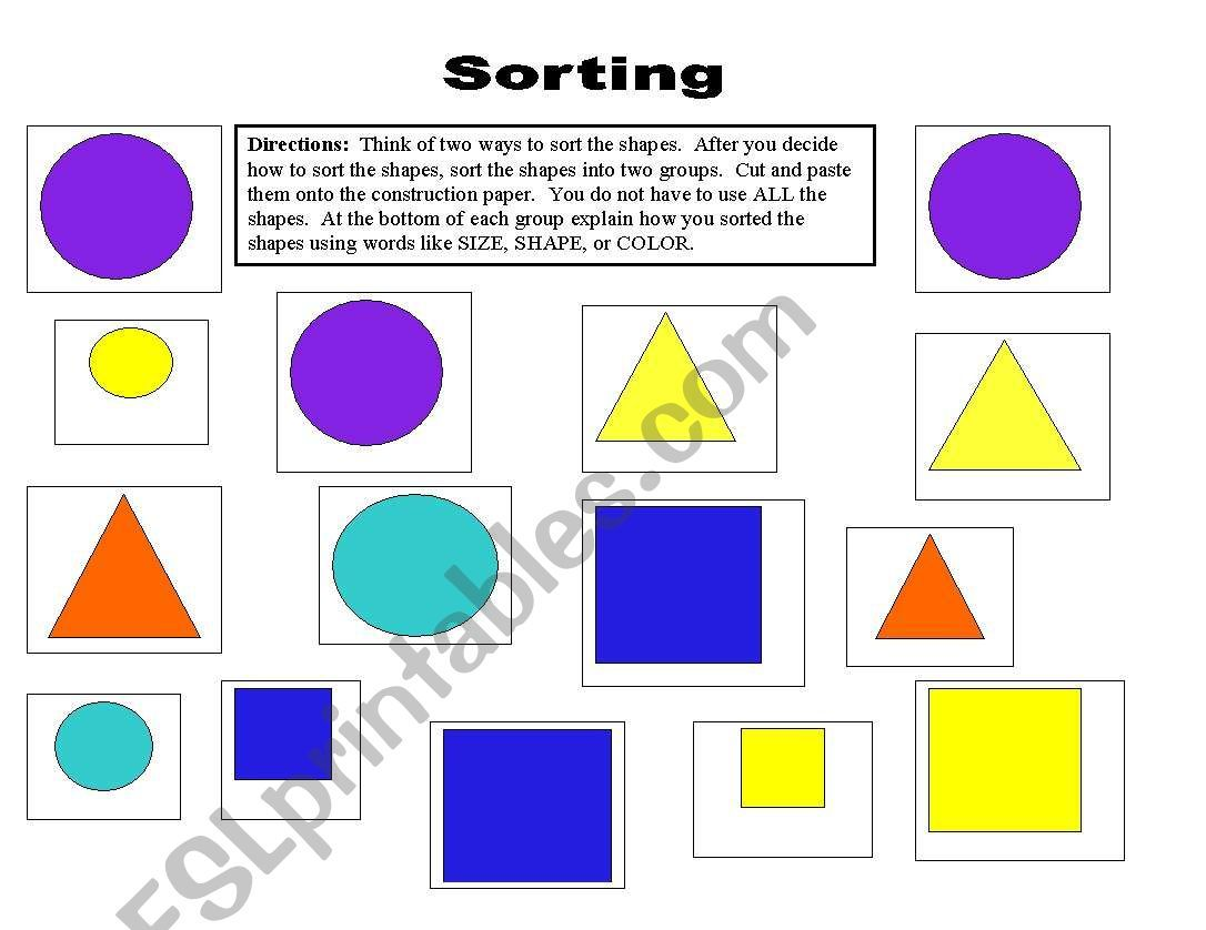 English Worksheets Sorting Shapes In Different Ways In