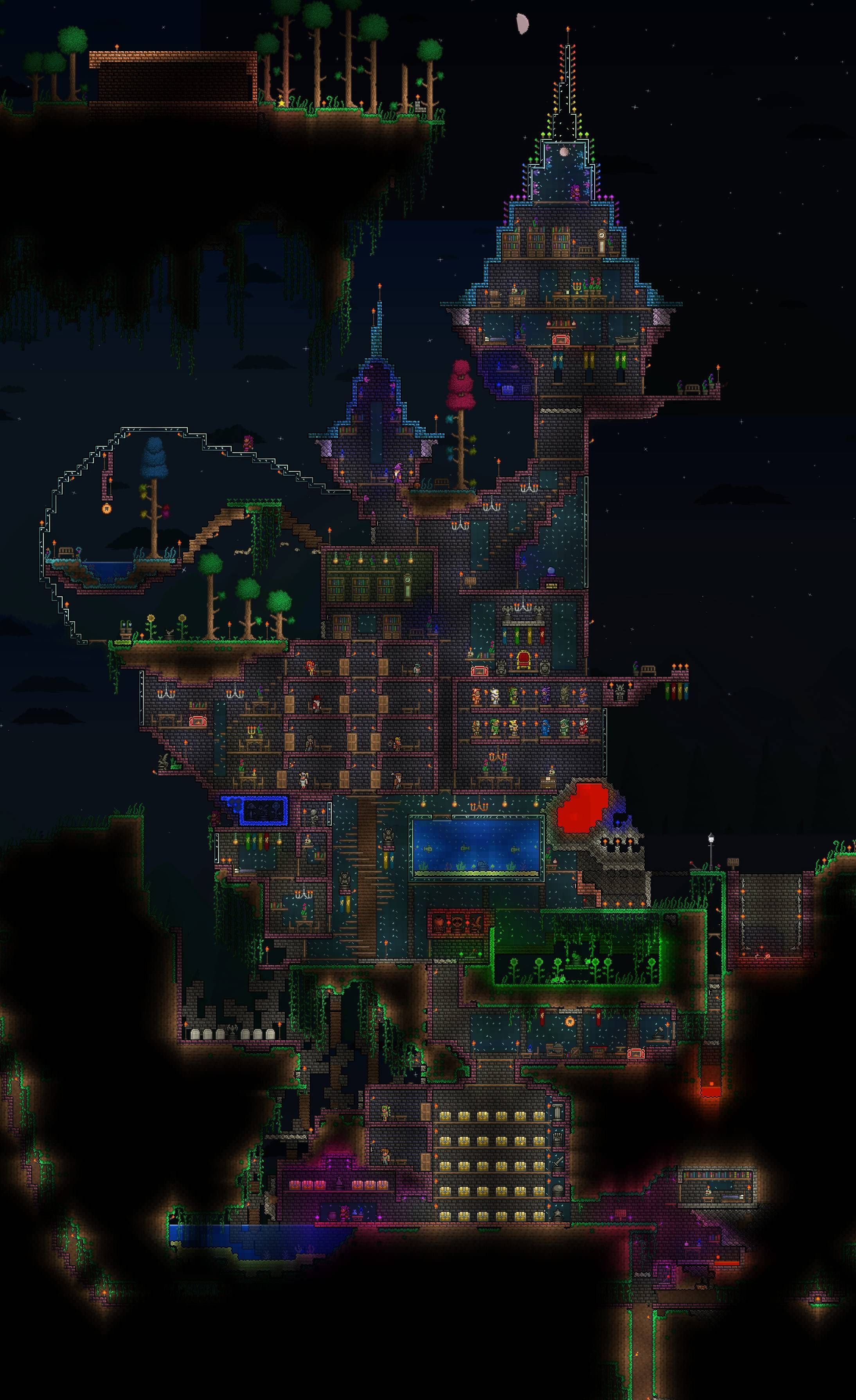 The Pink Palace My Terraria Home Much Of It Inspired By This