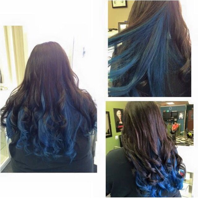 Chocolate Brown On Top With Electric Blue Underneath Blue Hair Underneath Wild Hair Color Blue Brown Hair