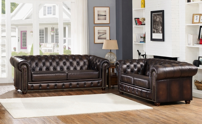 Albany Dark Brown Chesterfield Sofa Loveseat In 100 Genuine Leather Sofa And Loveseat Set Top Grain Leather Sofa Living Room Sets