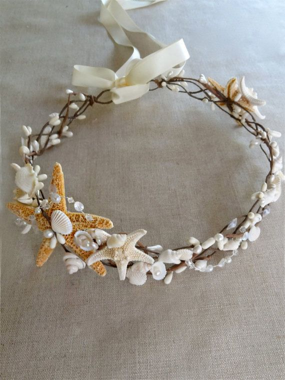 seashell headpiece seashell headband seashell hair by thehoneycomb ... 66ea12b27bc