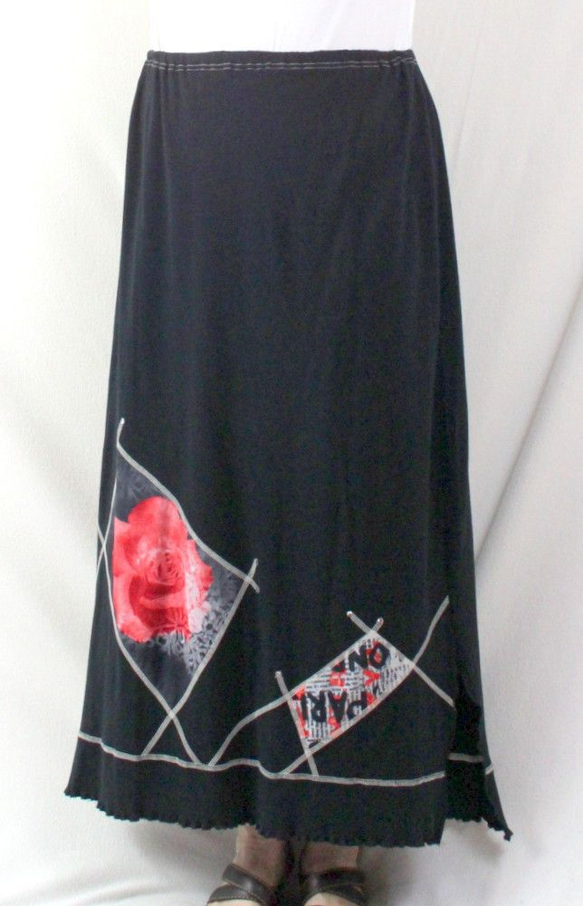 ed637b6056f8 French Dressing Long Skirt 3 L XL size Black Rose Patch Accented Elastic  Waist