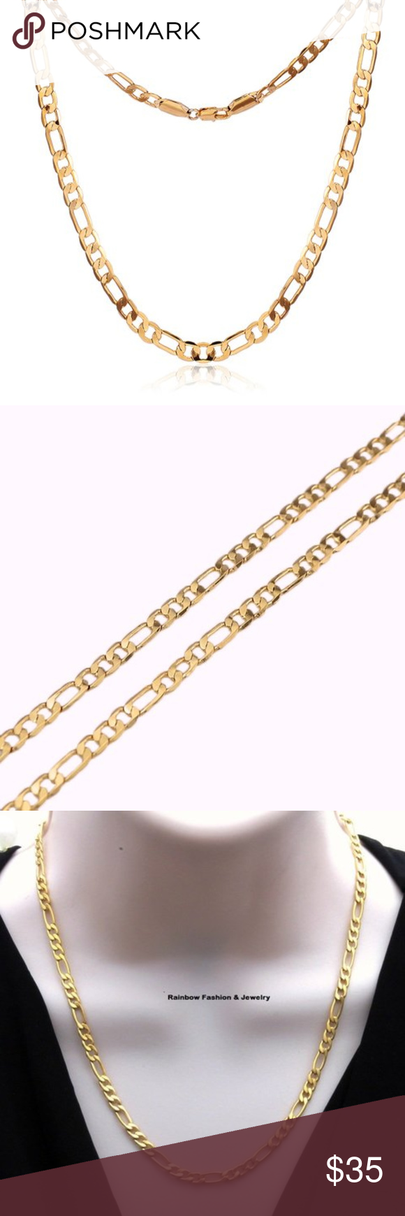 18k Gold Plated Italy 5mm Figaro Chain Necklace Chain Necklace Figaro Chain Necklace Necklace Types