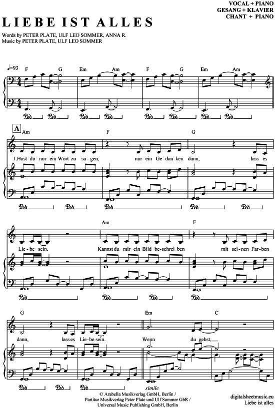 Liebe ist alles (Klavier + Gesang) Rosenstolz [PDF Noten