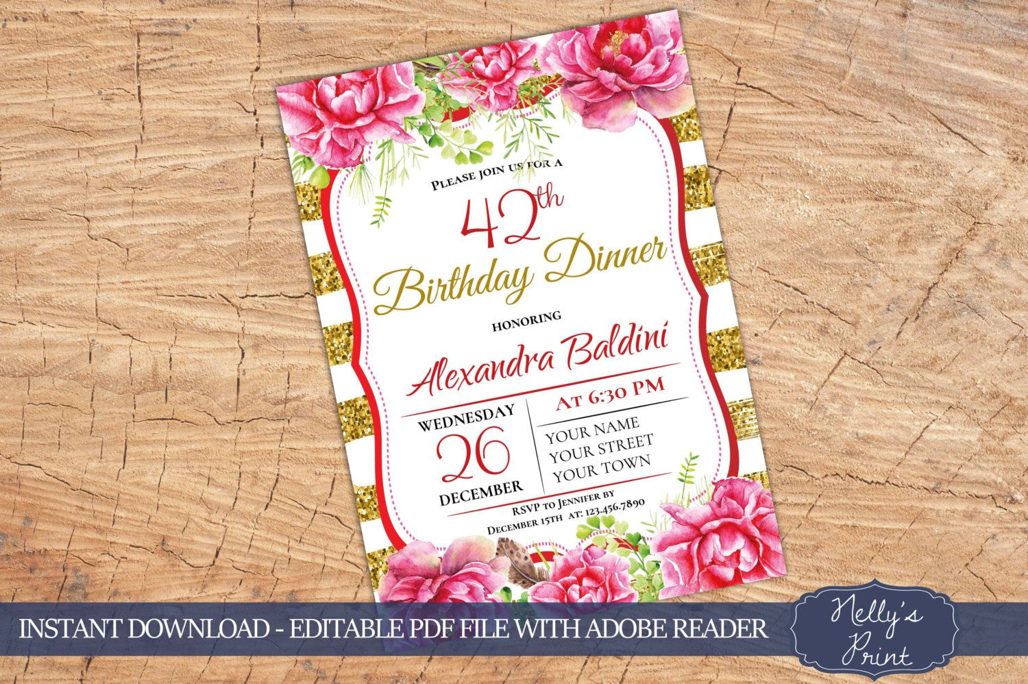 30th 40th 80th 60th 50th Birthday Invitation Party Floral Self Editable PDF Instant Download Any Age