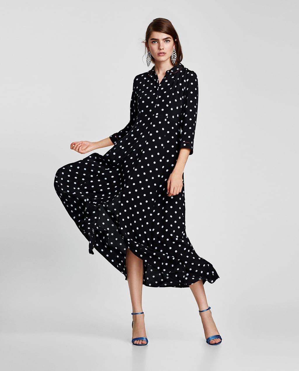 zara - woman - long polka dot dress | abiti a pois, vestito