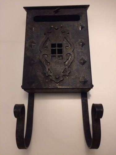 Vintage Wall Mounted Iron Mailbox Mission Craftsman Style Gothic Magazine Rack