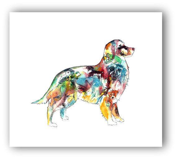 Australian Shepherd Art Shepherd Silhouette Watercolor Dog