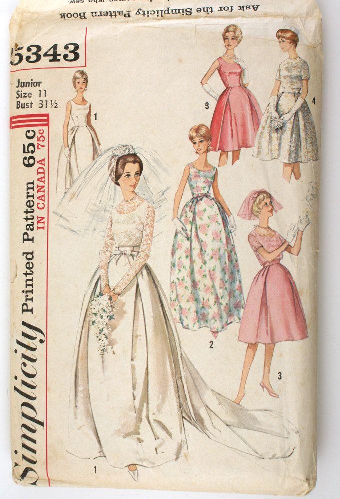 Simplicity 5343 Misses 1960s Wedding Dress Pattern
