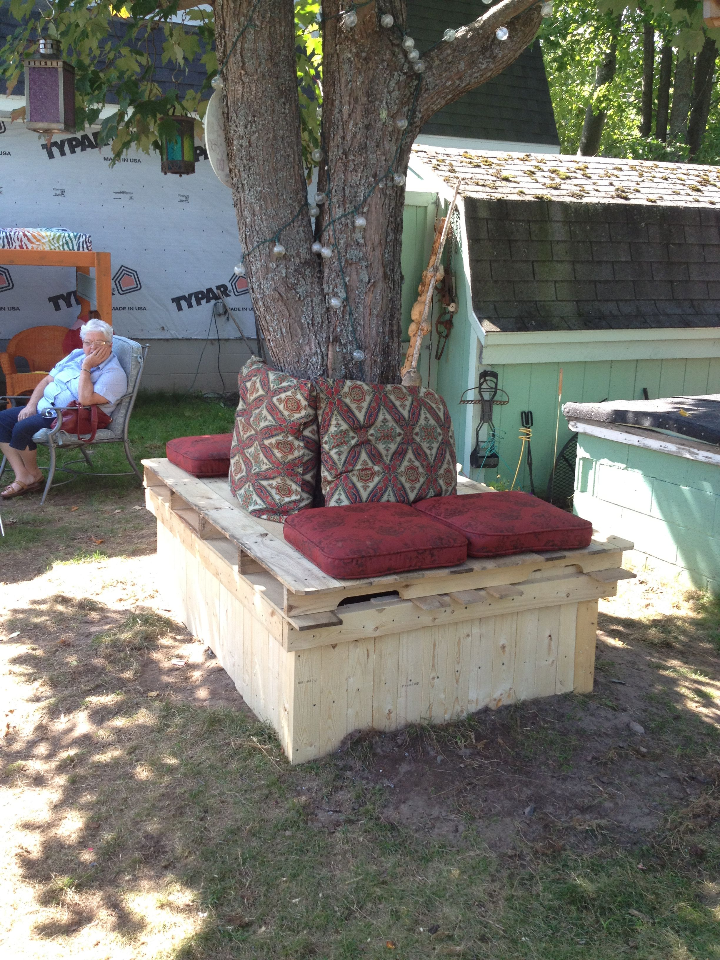 Amazing photo of My pallet bench around the base of a tree. Inspiring Ideas  with #867245 color and 3264x2448 pixels