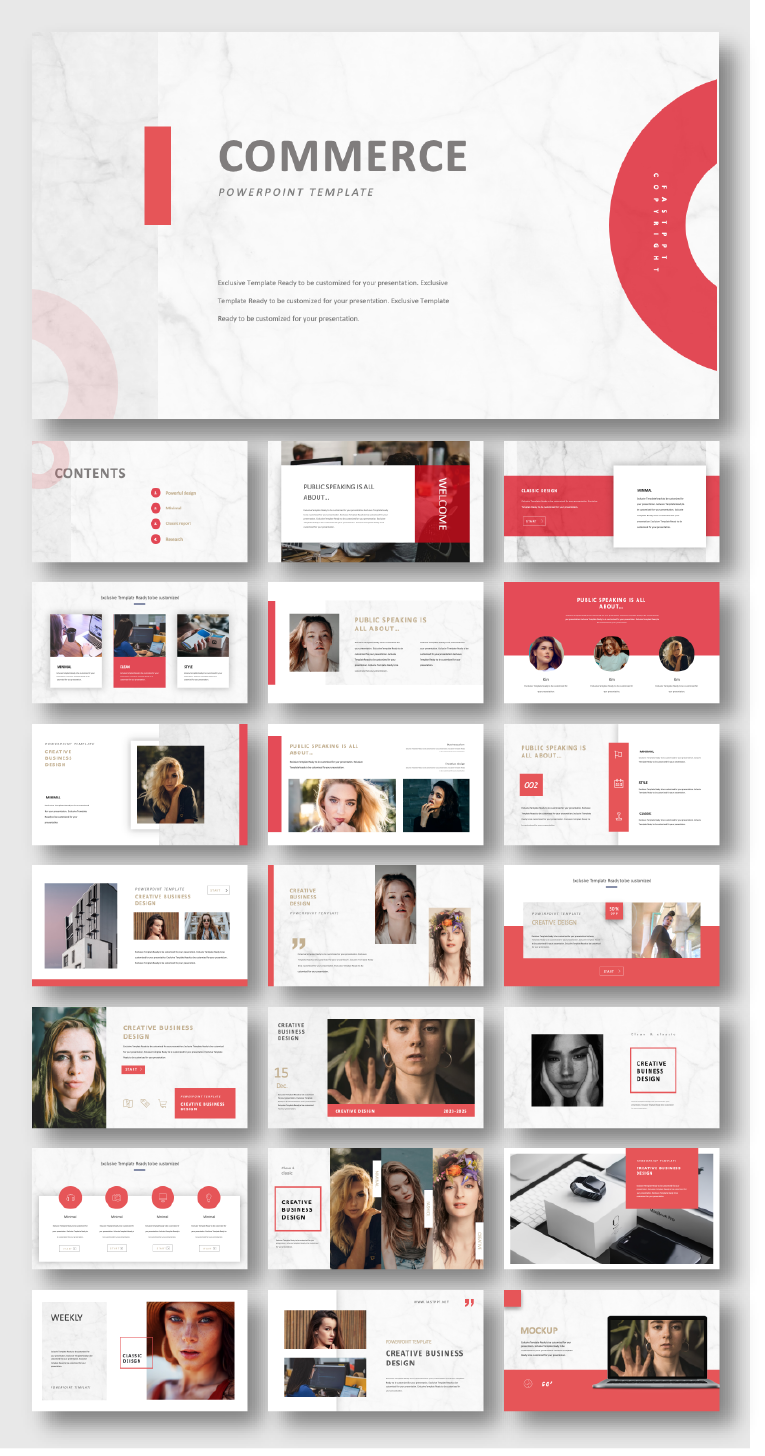 2 In 1 Blue Red Creative Powerpoint Template Creative Powerpoint Templates Creative Powerpoint Powerpoint Presentation Design