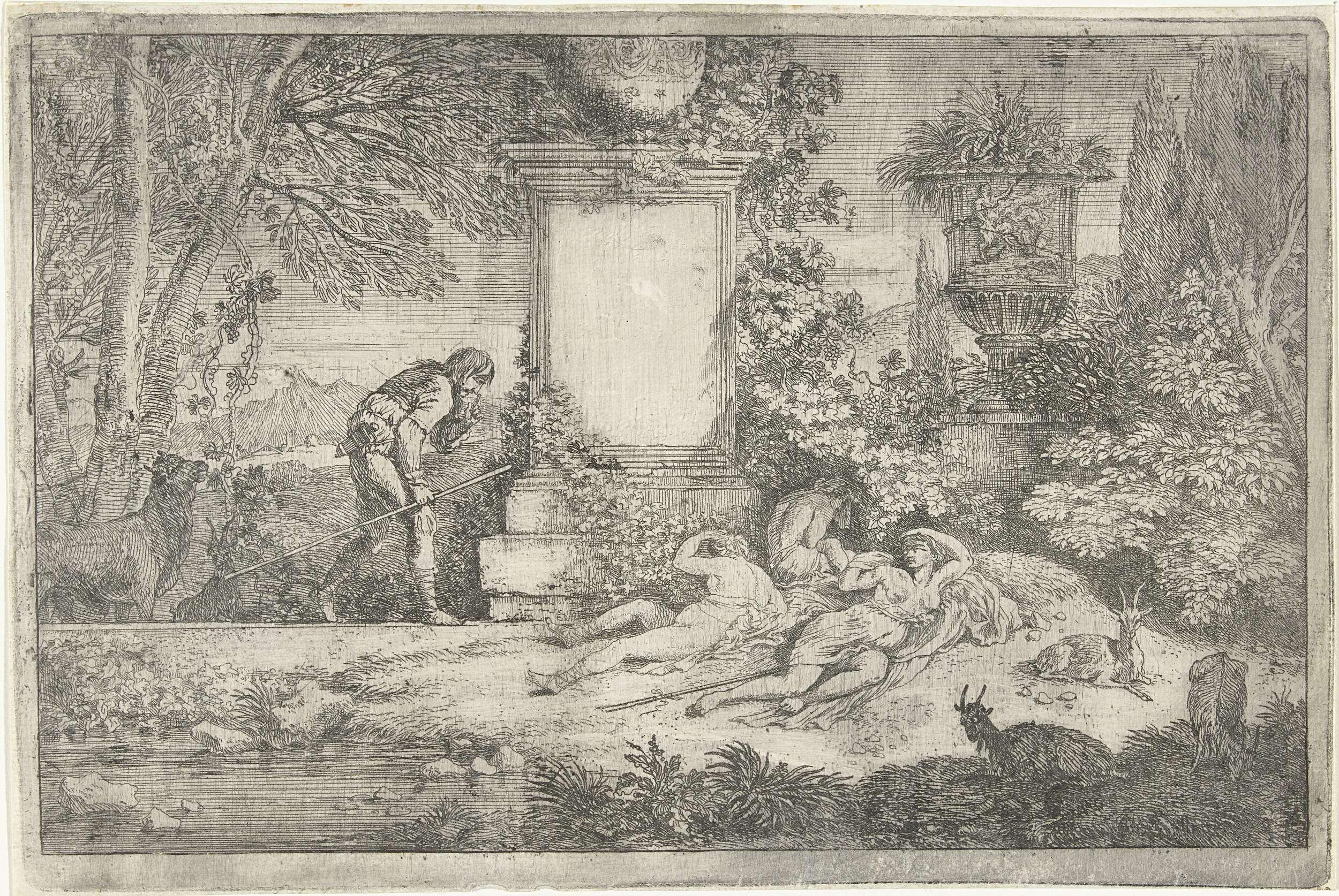 Adriaen van der Kabel | Slapende herderinnen, Adriaen van der Kabel, 1648 - 1705 | Drie schaars geklede vrouwen aan de voet van een zuil waarnaast een staande man, een koe en enkele geiten. Eerste prent uit de serie van zes.