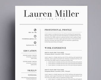 Resume Template / CV Template For Word, Cover Letter, Two Page Resume,  Teacher  Two Page Resumes