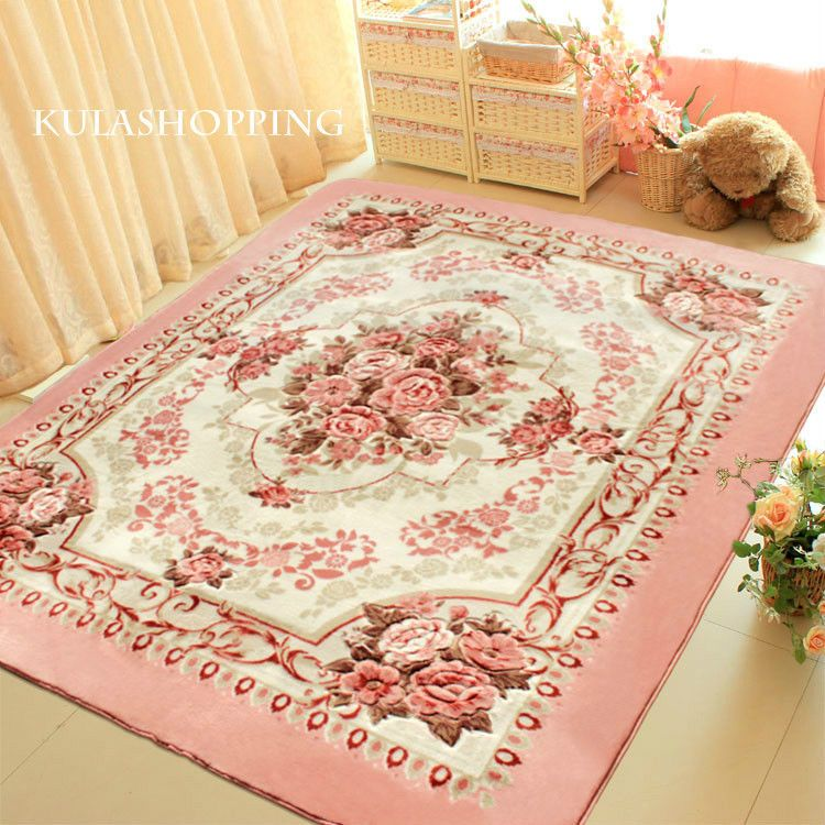 Pink European Rose Floral Floor Mat Rug Carpet Victorian Style ...