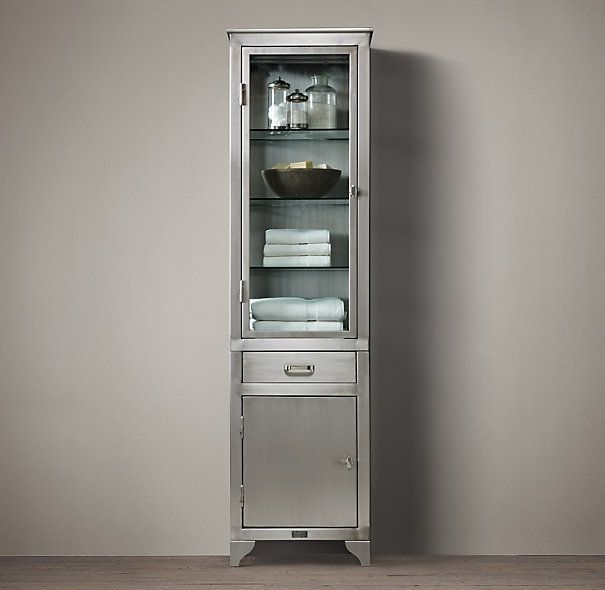 Modern Tall Cabinet Storage Idea With Transparent Glass Door And