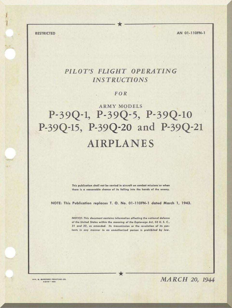 Bell P 39 Q 1 Q 5 Q 10 Q 15 Q 20 And Q 21 Pilot S Flight Operating Instructions Aircraft Flight Manual 01 110fn 1 Blueprints Aircraft Pilot