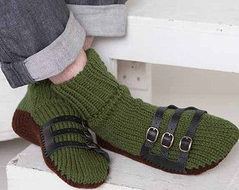 Mens Slipper Socks Mens Knit Slippers Olive Green Dark Brown Sandal Sock Mens House Slippers Mens Knit Socks Leather Straps BoXLEB