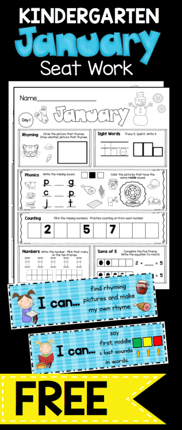 FREE Kindergarten January Seat Work - I Can Statements - Common Core ...