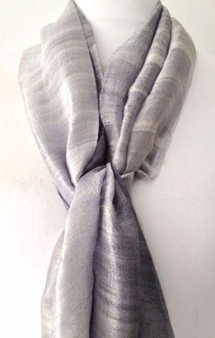 Thai Silk Scarf Fair Trade Silver Grey Wrap 100 Raw Silk Scarf Wedding Prom Scarf Shawl Hand Dyed Scarves Fair Trade Scarves Silk Pocket Square