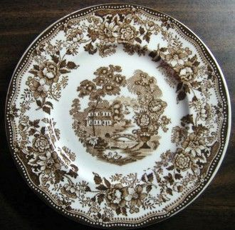 Brown Toile Transferware Chinoiserie Swan Roses Vintage Plate S