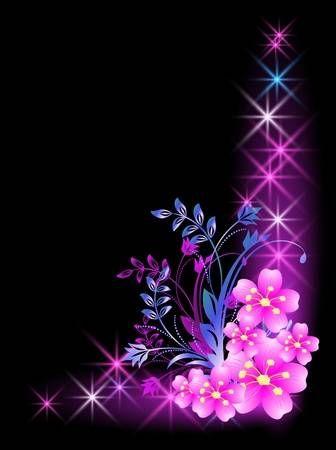 Glühend Hintergrund mit Blumen und Sternen