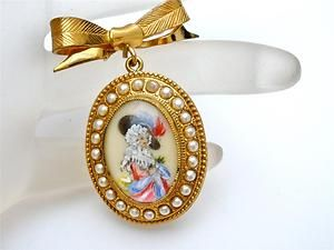 Vintage TLM England Portrait Brooch Lady Bow Hand Painted Signed Thomas L Mott