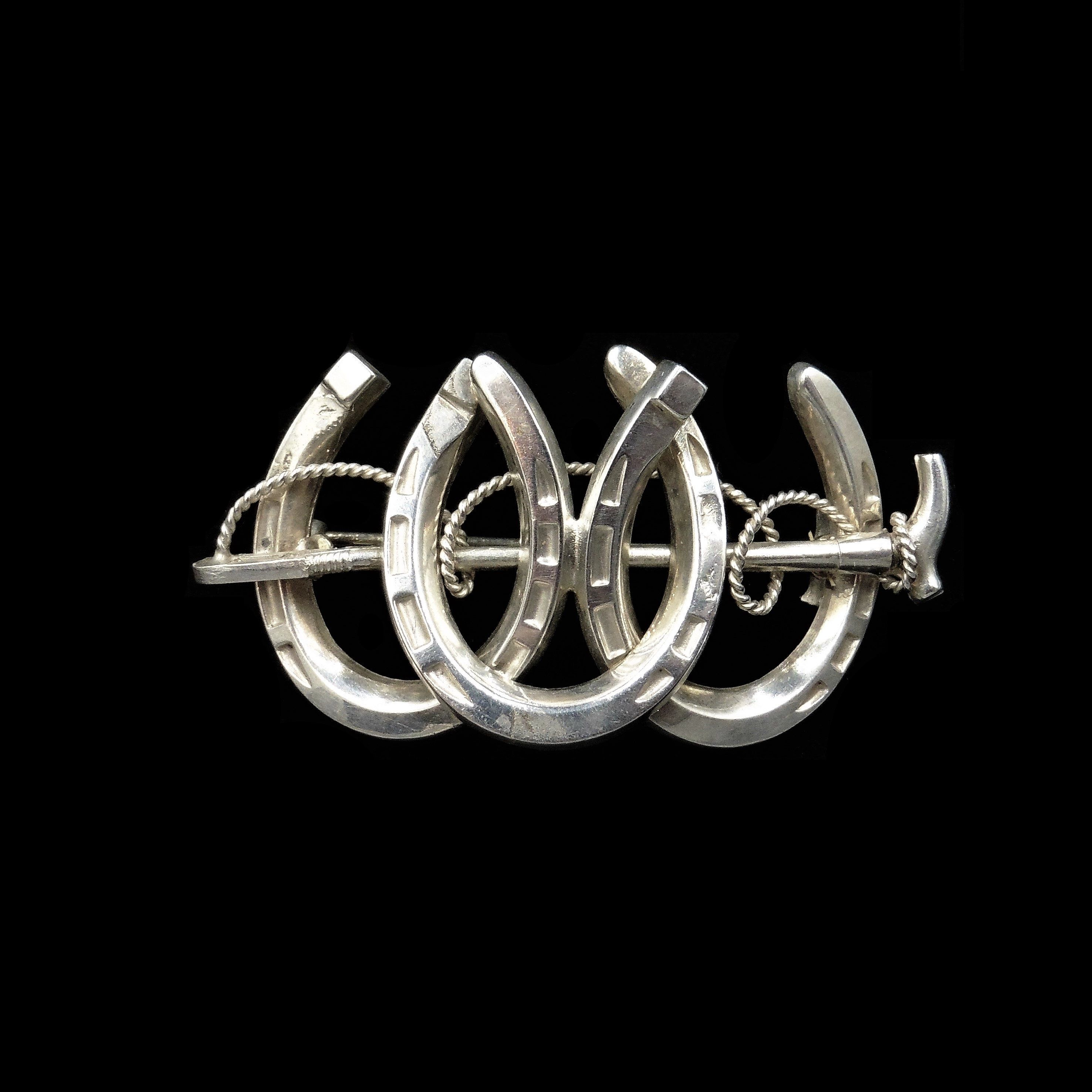 Victorian Sterling Silver Lucky Horseshoe /& Ivy Leaf Brooch Circa 1890