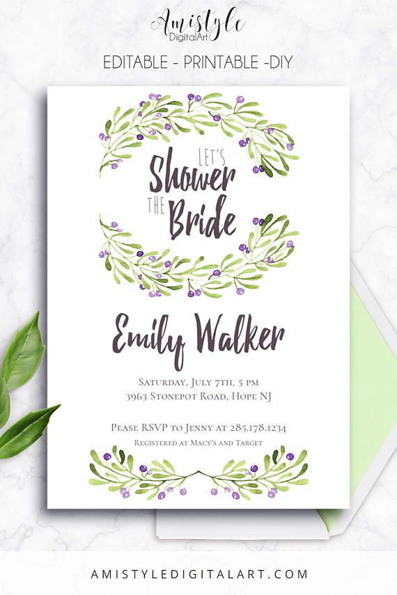 Printable Bridal Shower Invitation Card With Watercolor Olive Branches By Amistyle Digital Art On Etsy