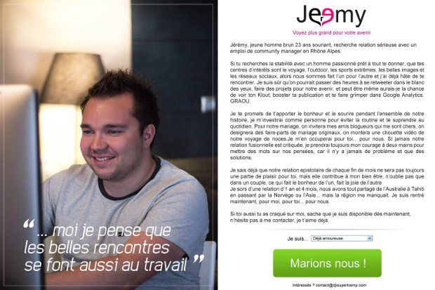 cv original   un community manager copie meetic pour