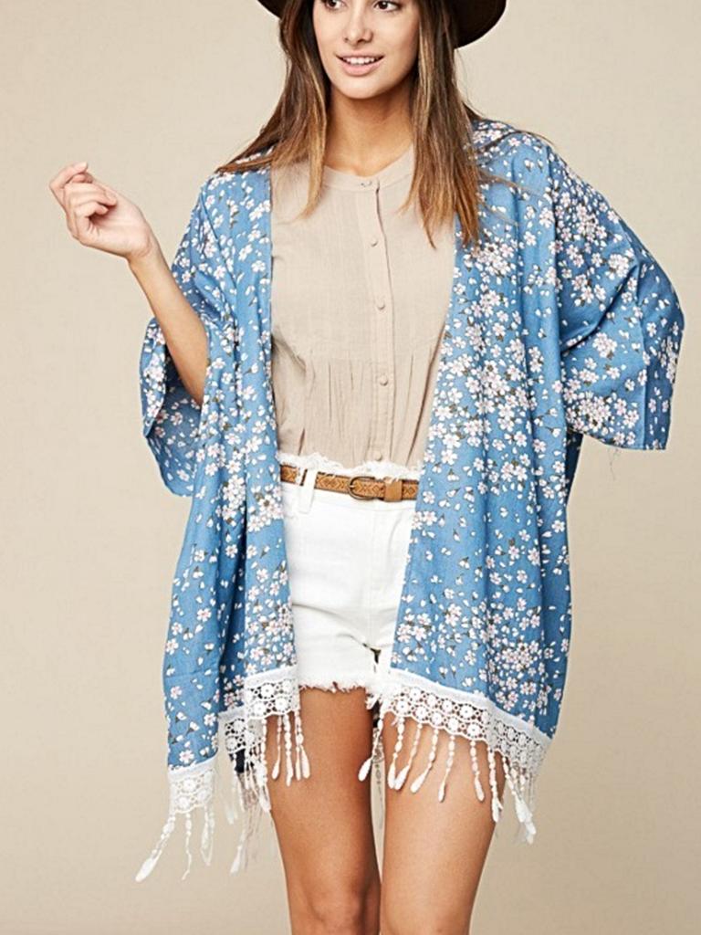 Hayden Floral Kimono Cardigan with Fringe Plus Size | Blue kimono ...