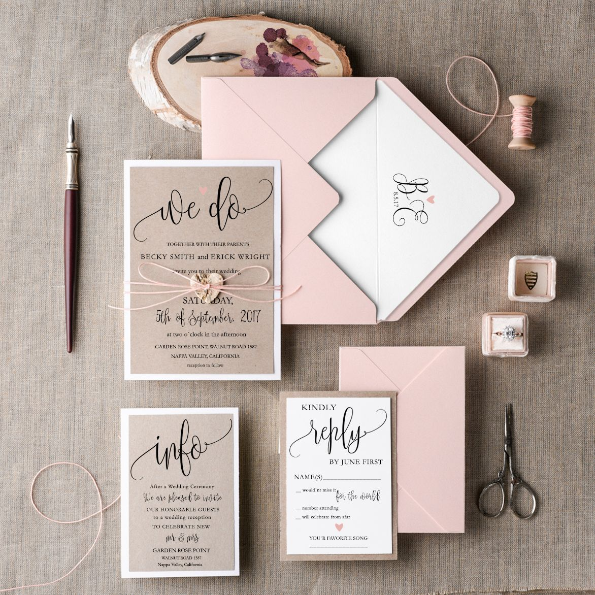 Cheap Rustic Wedding Invitations Pink Minimalist Stationery We Do Romantic Suite Wedding Invitation Kits Rustic Wedding Invitation Set Pink Wedding Invitations