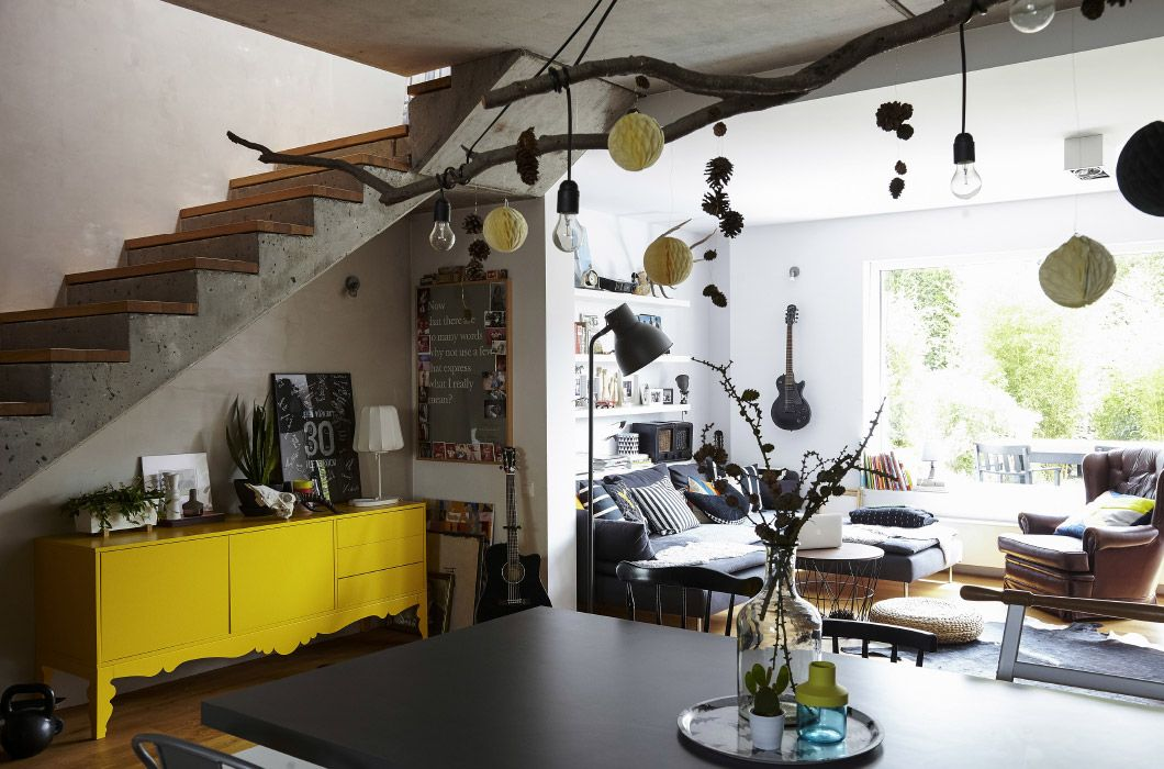 Industrial style bare branches and woodland motifs combine to