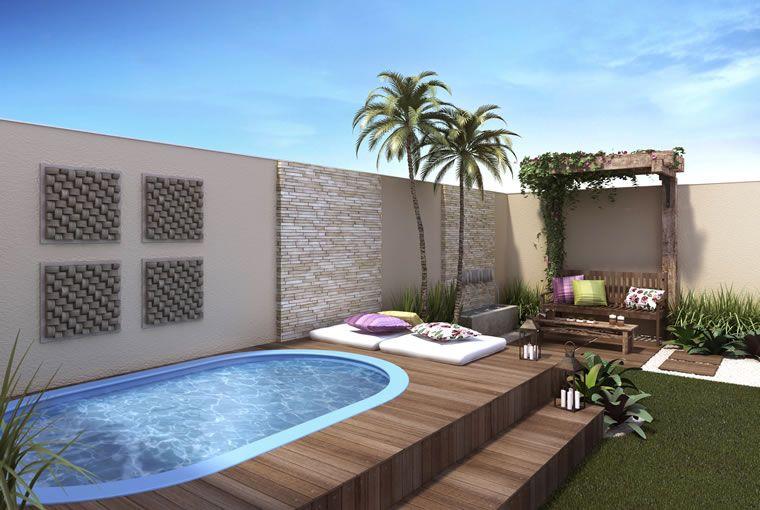 Resultado de imagen para decoracion de patios peque os con for Pileta jardin pequeno